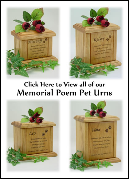 Memorial Poem Pet Urns