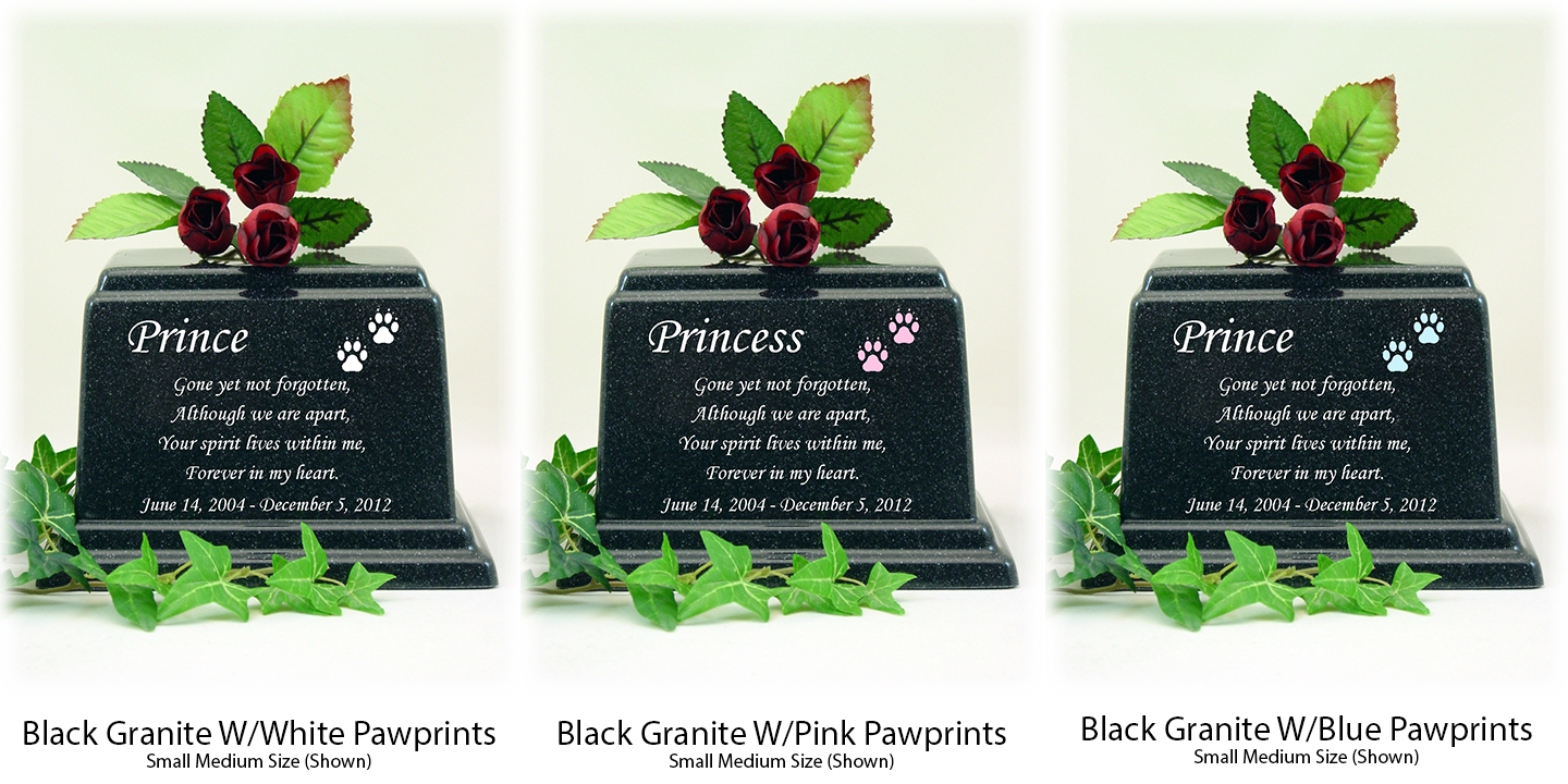 Black Granite Memorial Poem Pet Urns