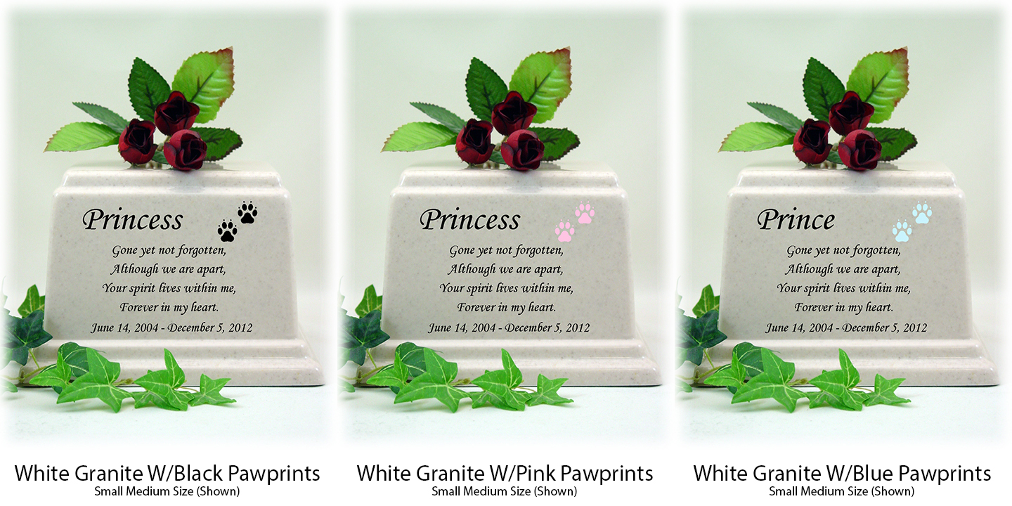 White Granite Memorial Poem Pet Urns